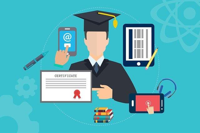 オンラインで勉強するイメージのイラスト