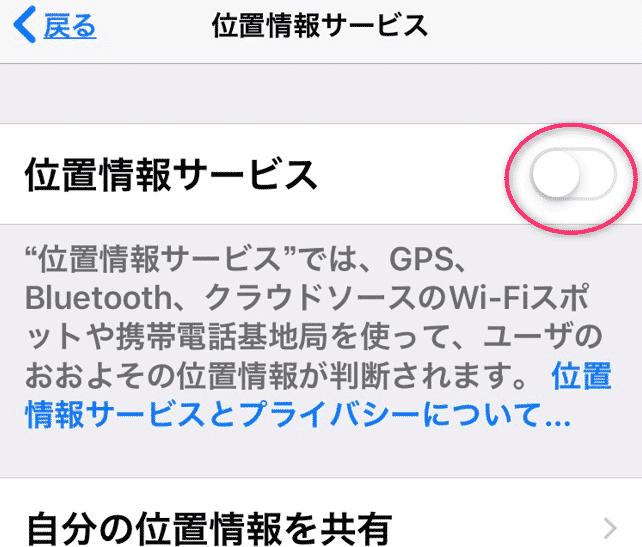 IPHONEの位置情報サービス 設定