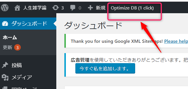 Optimize database after deleting revisions の実行画面