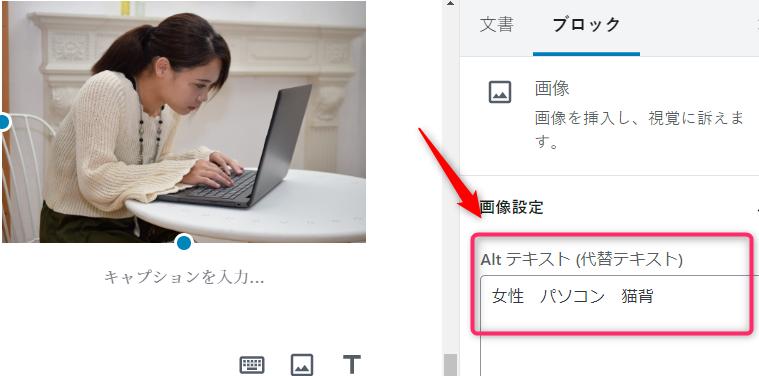 alt属性の説明の写真 女性がパソコンをしている