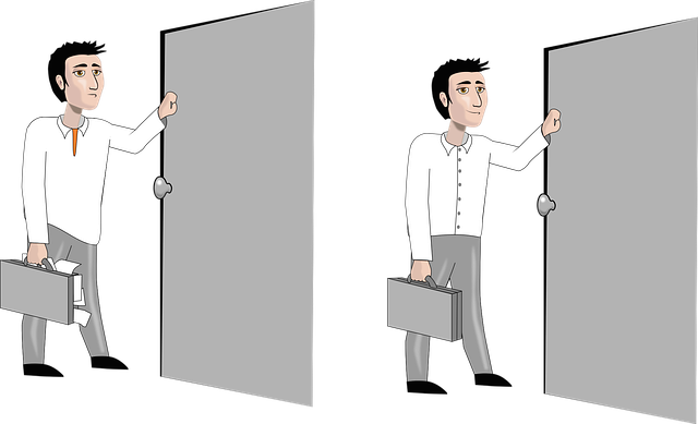 男性 面接室に入る様子 いい例と悪い例の絵