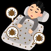 ダニ布団で寝る男性のイラスト
