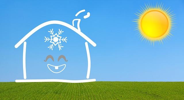 外は太陽がぎらぎらで暑い 家の中はエアコンが効いてかなり涼しい というイラスト