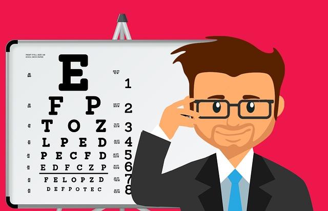 眼科医 男性 視力検査