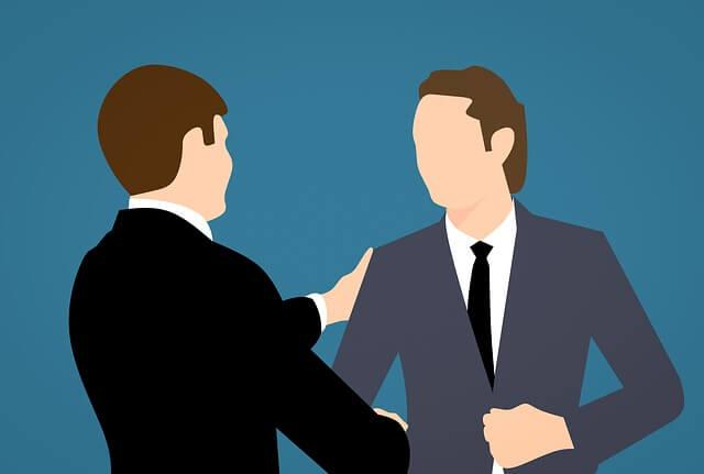 男性二人  面接風景 握手