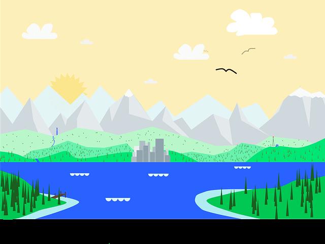 川、山のイラスト