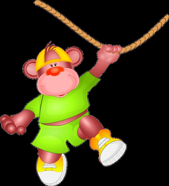 ロープをもってぶらさがるサル イラスト