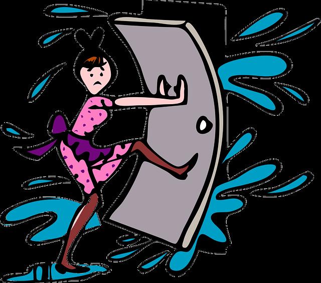 押し寄せる水の侵入を防ごうとする女性のイラスト