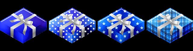 青色の包装紙の4つのプレゼント