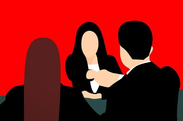 三人 握手しているイラスト