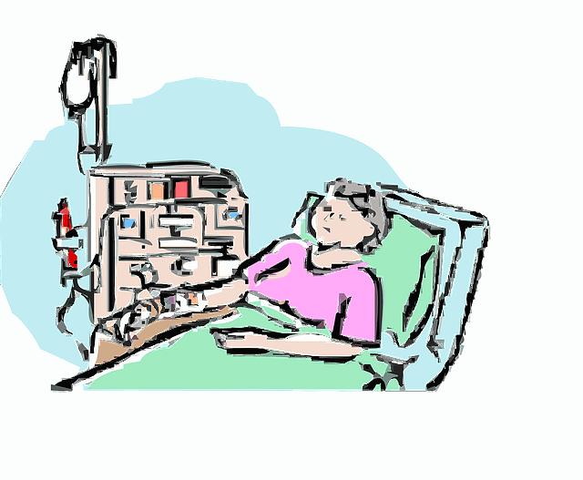 病院のベッドで寝ているイラスト