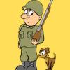 兵士のイラスト 犬もいる