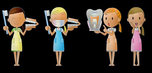 四人の歯科衛生士が歯の説明をしているイラスト