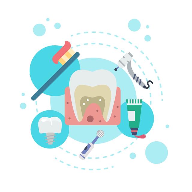 イラスト 歯 歯ブラシ ドリル インプラント 歯磨き粉