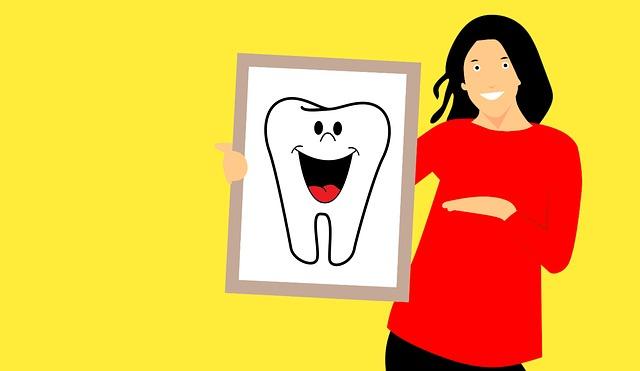 あかい服の女性が歯の説明をしているイラスト 黄色の背景