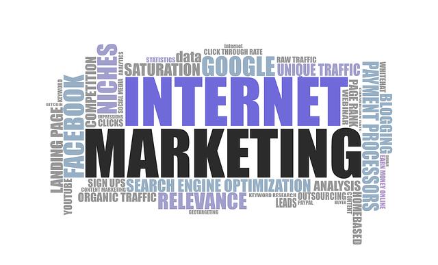 文字はinternet marketing他にもインターネットのイメージの文字が並ぶ