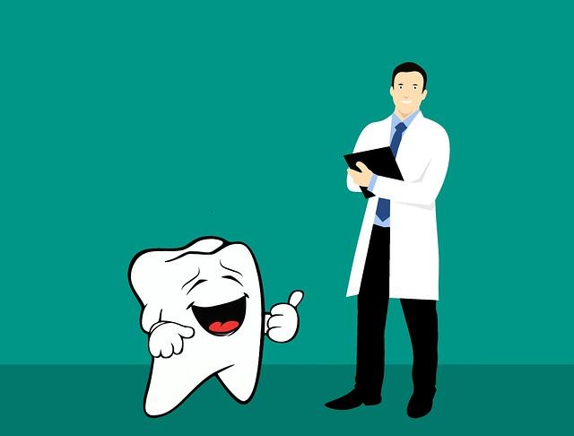 歯がグッドサイン 歯科医が笑顔 歯科のイラスト