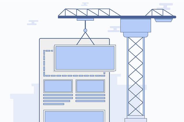 クレーンでサイトを作るイメージのイラスト