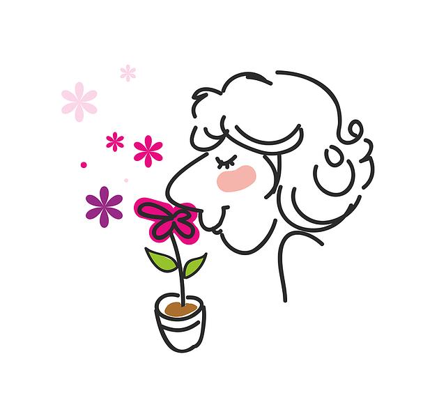 花の匂いをかぐ人のイラスト
